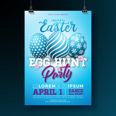 Vector Easter Party Flyer Illustration with painted eggs and typography elements on blue background. Spring holiday celebration poster design template.
