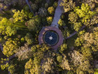 Aerial view of famous fountain in Forsyth Park in Savannah, Georgia.