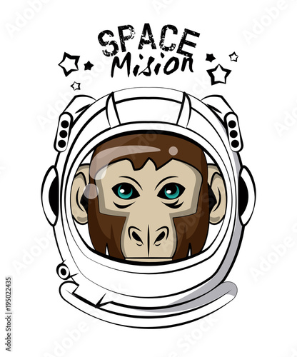 Cool monkey on astronaut helmet vector clothing design