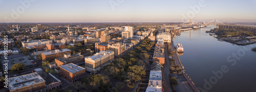 Aerial panorama of downtown Savannah, Georgia and River Street. © Wollwerth Imagery