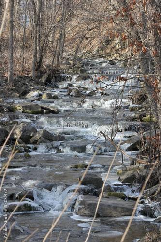 Aluminium Lente Water melt-off swiftly running down a rocky slope during a seasonal melt.