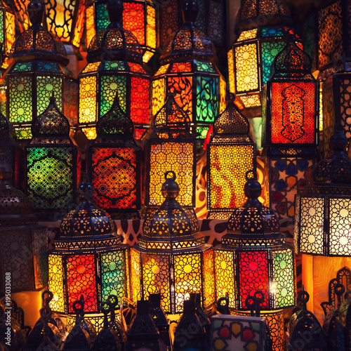 lighting with colors on muslim style's lantern - 195033088