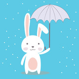 Cute cartoon bunny,funny wild animal with umbrella