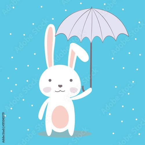 Fototapeta Cute cartoon bunny,funny wild animal with umbrella