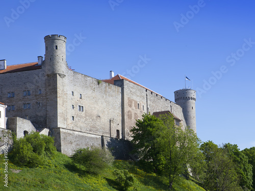 Toompea Castle on Toompea hill (Tall Hermann tower). Tallinn, Estonia