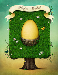 Fantasy spring illustration for Easter holiday greeting card or  poster   with  Easter Egg in  nest