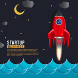 Startup Space Rocket Launch Art Creative Idea Wall Sticker