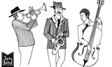 Black and white sketch of trio players. Jazz Men in a striped jacket plays on the musical instruments.