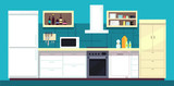 Cartoon Kitchen Interior  Fridge Oven And Other Home Cooking Appliances  Illustration Wall Sticker