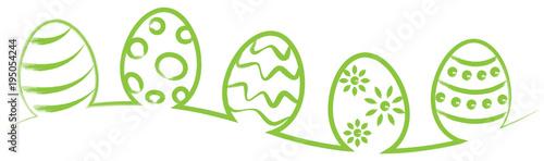 Foto op Aluminium Hoogte schaal Osterei Eier Strich Zeichnung grün isoliert