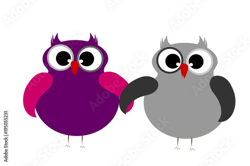 Foto op Canvas Uilen cartoon Vector illustration a pair of owls on white background.