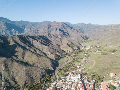 Foto op Canvas Blauwe hemel Aerial view beautiful landscape in Gran Canaria