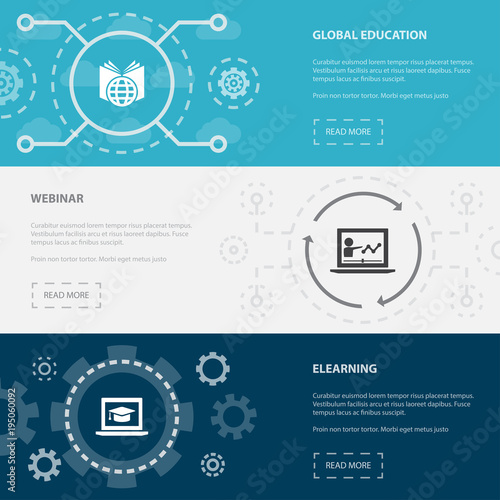 eLearning 3 horizontal webpage banners template with Global education, Webinar, eLearning concept. Flat modern isolated icons illustration.