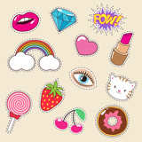 Cute Colourful Girl  Fashion Patches Lipstick Rainbow Diamond And Strawberry Icons Wall Sticker