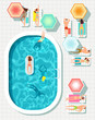 People at swimming pool summer outdoor vector background