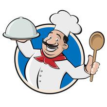 Funny Restaurant Chef  Cloche And Spoon Sticker