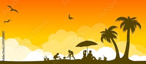 Silhouette Strand und Sonne - 195068887