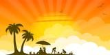 Silhouette Strand und Sonne
