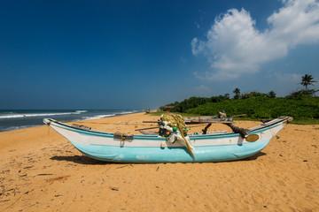 Boats at the beach with palm trees, Sri Lanka