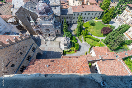 Fotobehang Milan Aerial view of beautiful Bergamo Alta skyline, Italy