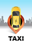Taxi location.Taxi logo.Taxi service concept.Map pointer with taxi symbol - 195072603