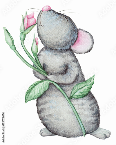 Mouse smells a flower. Watercolor illustration isolated on white background - 195074676