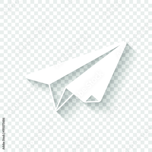 Paper Plane Origami Glider White Icon With Shadow On Transparent Background
