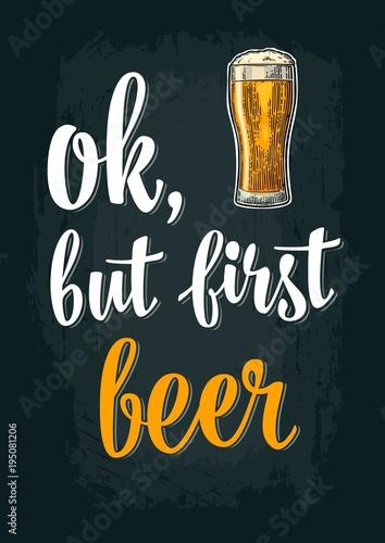 Fotobehang Vintage Poster Glass beer. Vintage vector engraving