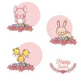 Happy easter card with cute animal cartoon