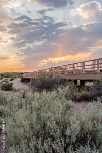 Deurstickers Arizona Sunset Over Bridge in Desert
