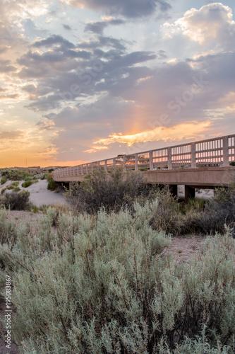 Fotobehang Arizona Sunset Over Bridge in Desert