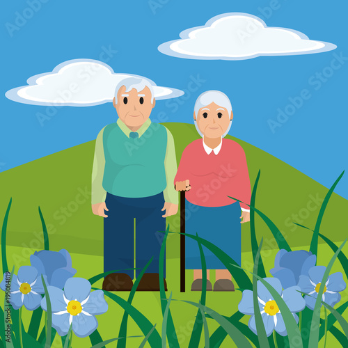 Aluminium Blauw Cute grandparents couple cartoon