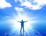 未来 希望 人物 男性 未知 成功 達成 明るい未来 青空  - 195089030