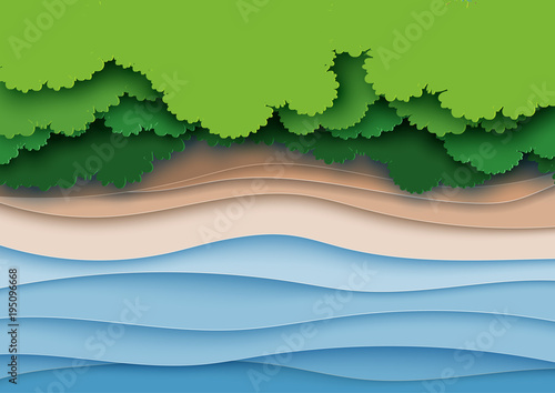 Fototapeta Top view of green forest canopy,beach and sea layers background.Nature and environment landscape creative idea concept of paper art style.Vector illustration.