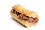 Long BBQ Brisket Sandwich on a White Background - 195098249