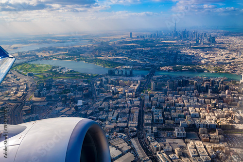 Tuinposter Dubai Aerial view of Dubai from airplane
