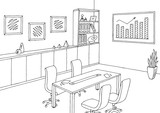 Office meeting room graphic black white interior sketch illustration vector - 195106033