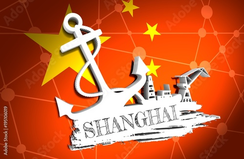 Fotobehang Rood Anchor, lighthouse, ship and crane icons on brush stroke. Calligraphy inscription. Shanghai city name text. 3D illustration.