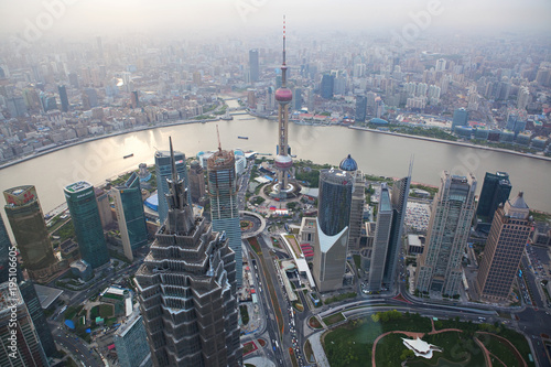 Foto op Aluminium New York Foggy view of Shanghai