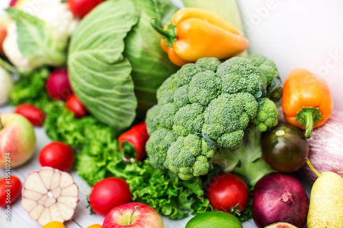 Different cabbage and fresh Vegetables. - 195107274
