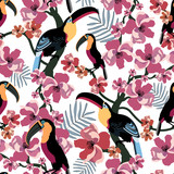 Tropical seamless pattern with colorful toucans, flowers and leaf. Summer vector exotic textile texture. Colorful background