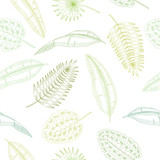 Palm leaf graphic green color seamless pattern sketch illustration vector - 195113210