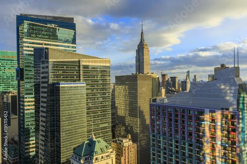 Keuken foto achterwand New York View to Manhattan at sunset, New York, USA