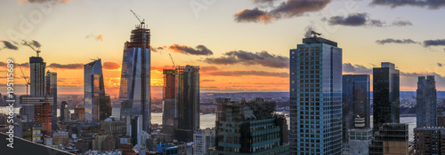 View to Manhattan at sunset, New York, USA - 195115689