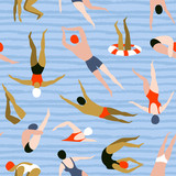People swimming pattern. Summer seamless background. Summertime vector illustration with swimmers drawing in flat design. - 195117030