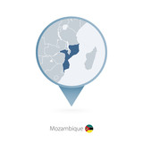 Map pin with detailed map of Mozambique and neighboring countries. - 195119891