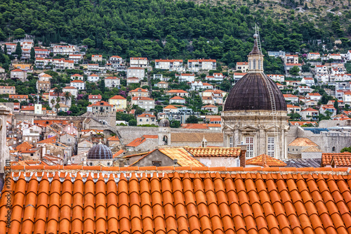 Dubrovnik panorama, Croatia. Ancient town houses view