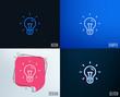 Glitch, Neon effect. Idea line icon. Light bulb sign. Copywriting symbol. Trendy flat geometric designs. Vector