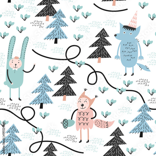 Cotton fabric Seamless pattern with wolf, rabbit and squirrel. Childish pattern. Great for fabric.