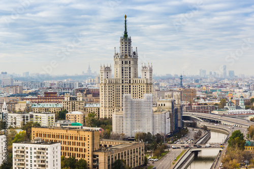 Tuinposter Moskou Beautiful Moscow cityscape - top view